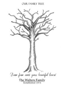 Family Tree Finger Print Signature Tree Leaf by PTWatersDesigns, $18.00