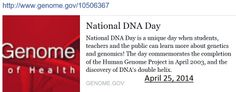 https://www.genome.gov/10506367 DNA day April 24, 2014
