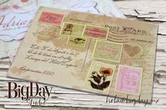 Postal inspirada en el estilo vintage, romántica, con detalles de timbres postales, sellos y tipografía. Una hermosa y delicada manera de anunciar tu Adiós a la Soltería.