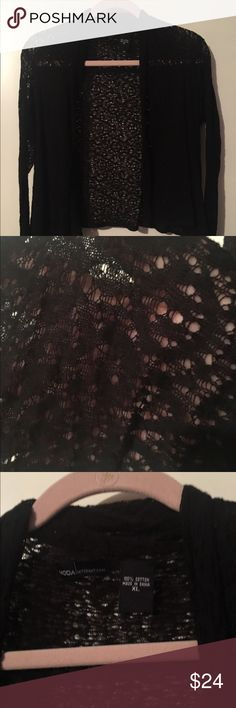 Black mesh like eyelet overpiece by Moda XL Black mesh like eyelet overpiece by Moda. Size XL. Never worn; ordered and removed from packaging. Perfect piece to wear over a cute tank or cami! Moda International Tops Tunics