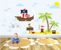 Deluxe Pirate Self Adhesive Fabric Wall Art Stickers / Decals - pinned by pin4etsy.com