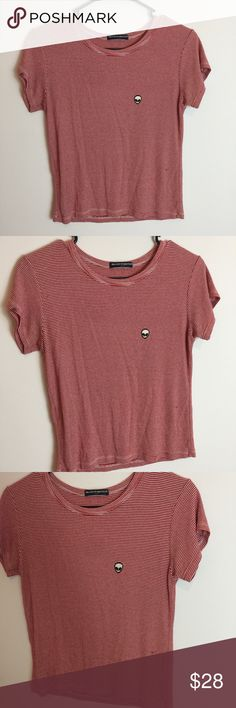 Brandy Melville Red White Striped Top Alien Brandy Melville Top worn lightly has a mark on the front. So cute fits like a medium. Brandy Melville Tops