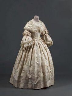 In the Swan's Shadow: Silk brocade wedding gown, ca. 1854