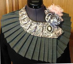 Items similar to This collar is made from a man& necktie with flowers and brooch for embellishment on Etsy Tie Styles, Scarf Styles, Old Ties, Tie Crafts, Neck Accessories, Tie Quilt, Collar Pattern, Neck Piece, Fabric Jewelry