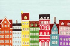 Copenhagen, Denmark, Scandinavian Buildings Colorful Illustration Art Print by Anna See on Artfully Walls