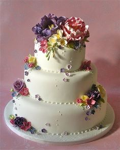 Cottage Garden wedding cake - by niceicing @ CakesDecor.com - cake decorating website