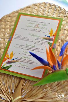 wedding flowers birds of paradise   Clay Flowers / DK Designs - Bird of Paradise wedding program fans