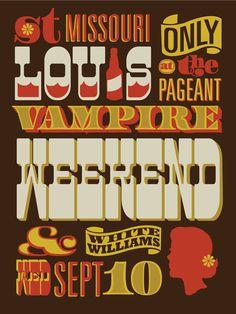 Vampire Weekend gig poster by Vahalla Studios Screen Print Poster, Poster Prints, Gig Poster, Schrift Design, Weird Words, Vampire Weekend, Print Layout, Typography Fonts, Typographic Poster