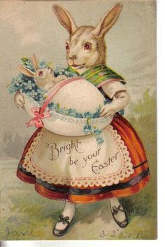 Vintage Easter Bunny and Baby Postcard - love the idea of a baby bunny in an eggshell cradle.