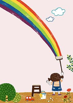 Cartoon little girl nursery pink poster background Art Drawings For Kids, Drawing For Kids, Easy Drawings, Art For Kids, Children Drawing, Rainbow Drawing, Rainbow Art, Rainbow Cartoon, Kids Background