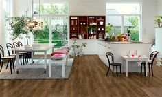 Pergo Flooring: The Reason You'd Love Laminate Planking, Grey Oak, Outdoor Furniture Sets, Outdoor Decor, Interior Design Inspiration, Modern Classic, Interior Architecture, Dining Table, House Design