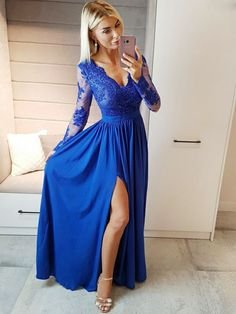 Long Sleeves Prom Dresses ready for sale online store at SimiBridalDresses. Find the perfect fit Long Sleeves Prom Dresses collection of designer dresses with sleeves. Buy Most Elegant Long Sleeve Prom Dresses of 2018 for a Modest Look. Royal Blue Prom Dresses, Prom Dresses Long With Sleeves, Prom Dresses With Sleeves, Homecoming Dresses, Dress Prom, Long Sleeve Formal Dress, Dress Long, Royal Blue Long Dress, Dress Formal