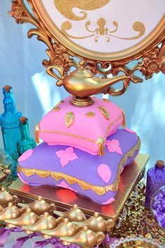 Genie Lamp cake from a Princess Jasmine Arabian Nights Birthday Party on Kara's Party Ideas | KarasPartyIdeas.com (37)