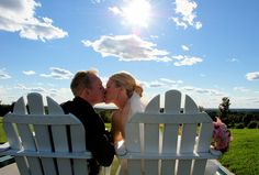 Adirondack Chairs are a perfect touch for a #CapeCodWedding. Photo at The Brookside Club, Bourne