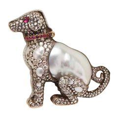 Russian  Diamond Pearl Ruby Collared Puppy Pin ca 1890                                             PRICE:                                     ...