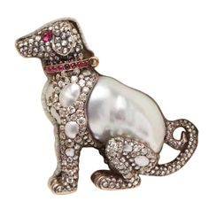 Russian Diamond Pearl Ruby Collared Puppy Pin