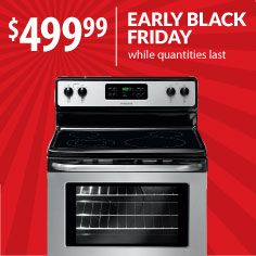 Need a new stove? This stainless steel Frigidaire electric range is a perfect candidate to knock off your Black Friday Shopping List. Model: FFEF3048LS.