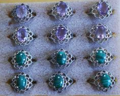 Malachite and Amethyst children's rings (or adult pinky rings!!!)  Silver toned - $15 ea