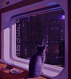 vaporwave ilustration Jaime bien sans s - vaporwave Aesthetic Colors, Aesthetic Gif, Aesthetic Backgrounds, Aesthetic Photo, Aesthetic Pictures, Aesthetic Wallpapers, Neon Purple, Purple Walls, Purple Cat