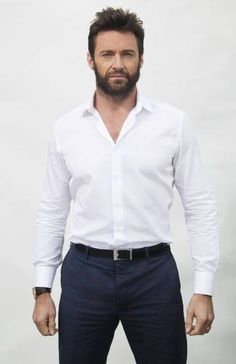 hugh Jackman in dress white shirt and Blue jeans
