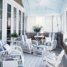 cedar shakes, haint blue ceiling, blue & white <3<3