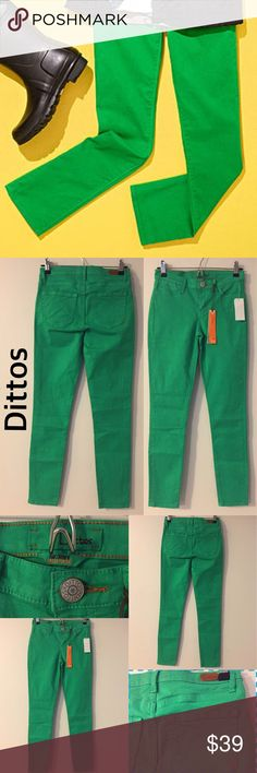 """DITTOS DAWN MID RISE GREEN SKINNY JEANS 💥 New Just to feed your desire for mega-hot jeans, the Dittos Dawn Mid Rise Green Skinny Jeans are just in! Hunter green denim has skinny tapered legs, and a mid-rise fit that is right on point. Leather logo patch at back. Front zipper/button closure. Five-pocket design. Size 24 measures 36.5"""" long. 28.5"""" inseam. 8"""" front rise. 26"""" waist. 97% Cotton. 3% Spandex. Machine Wash Cold.      * Imported. * Size 24 Dittos Jeans Skinny"""