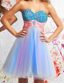 Multi Colored Short Poofy Dress