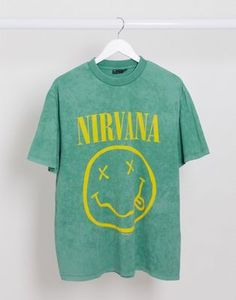 ASOS DESIGN Nirvana relaxed t-shirt in acid wash Nirvana Outfit, Nirvana Shirt, Asos, T Shirt, Sweatshirts, Sweaters, Mens Tops, Outfits, Shopping