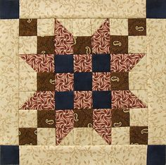 "Block #3 - Pattern is Star of Victory designed by Phyllis Paul of Cozy Quarters. Unfinished block is 9 1/2""."