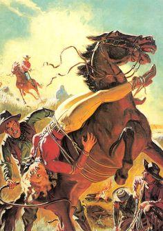 pulp western art | Lariat Story Magazine (Trigger Man from Texas!), 1944, illustrazione ...