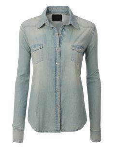 LE3NO Womens Casual Vintage Chambray Button Down Denim Shirt