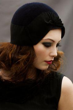 Cloche Hat - Wool Felt Hat with Fan Ribbon Detail