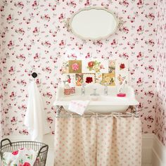 When I was young I went to a pub/bar with my family and was so taken with the Ladies' loo of all places! It had roses EVERYWHERE - something that I wanted to recreate at the time. Perhaps it would look like this?