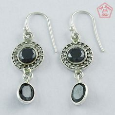 Beautiful Dangle Drop 925 Sterling Silver Black Onyx & Cubic Zirconia Stone Earrings Jaipur Silver India Co by JaipursilverindiaCo on Etsy