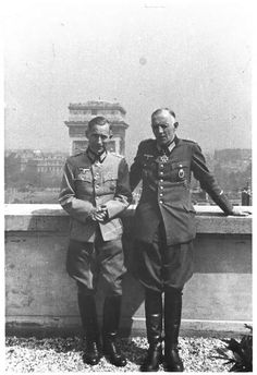 "1944, Paris, roof of the ""Rafael"" hotel. With fellow Wehrmacht officer Colonel Eberhard Wildermuth"