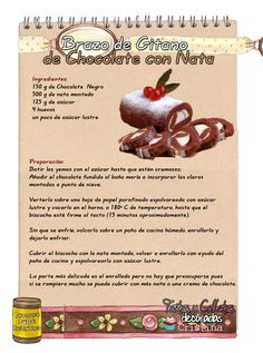 Tartas, Galletas Decoradas y Cupcakes: Brazo de Gitano de Chocolate con Nata https://www.pinterest.com/soled88/tips-y-recetas-de-cocina/