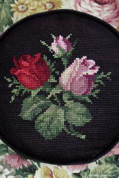 Vintage Home - Pretty Edwardian Handsewn Rosebud Cushion: www.vintage-home.co.uk