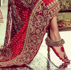 Indian wedding payal jhanjhar and red lehenga Punjabi Wedding, Desi Wedding, Wedding Dress, Big Fat Indian Wedding, Indian Bridal, Traditional Indian Wedding, Indian Weddings, Indian Dresses, Indian Outfits