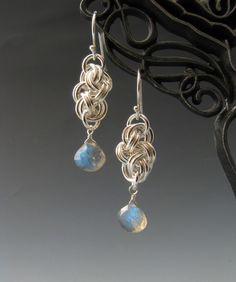 Cloud Cover Chainmaille Earrings with Labradorite.