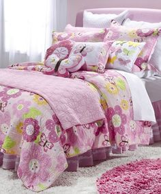 This Pink Floral Butterfly Cotton Quilt Set is perfect! #zulilyfinds