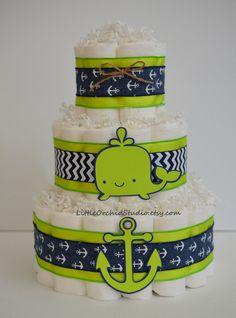 Nautical Baby Shower/ Nautical Diaper Cake/ Whale Baby shower/ Whale Diaper Cake/ Navy and lime green/ Ahoy its a boy/ Diaper cake/ Boy baby shower/ gift for baby boy/ baby boy gifts/ Its a Boy/ Anchors away/ Whale/ Anchor/ Baby gifts/ Baby shower  by LittleOrchidStudio