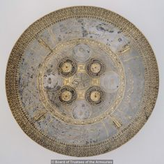 Shield (dhal) with inscriptions and other decoration in gold. Indian, Sikh, Lahore, dated 1847 AH) Object number