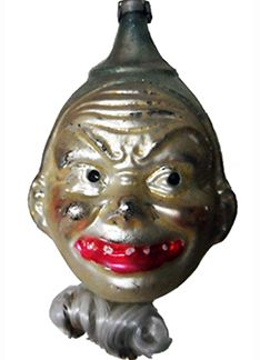 Vintage Germany Glass Christmas Ornament which may appeal to Halloween Collectors - because he is one scary dude! Merry Christmas - with an attitude...