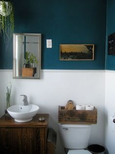 Beautiful turquoise bathroom. Like the chair rail with white lower wall.