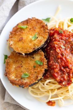 Breaded Eggplant baked and served over spaghetti and chunky marinara, then topped with cashew mozzarella cream. Fancy and so Delicious! Vegan Easy, Vegan Recipes Easy, Veggie Recipes, Whole Food Recipes, Vegetarian Recipes, Cooking Recipes, Dinner Recipes, Italian Recipes, Raw Vegan
