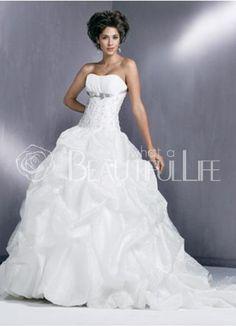 $304.99 Satin Organza #Ball Gown Strapless Sweep Train #Bridal #Dress With Appliques Sash