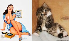 Right after we showed you some hilarious photos of sexy men and adorable cats in similar poses, we knew it was just a matter of time before we found the female equivalent. Cats That Look Like Pin Up Girls is a funny Tumblr blog that pairs the scintillating ladies found in 1940s and '50s calendars …