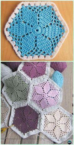Crochet Granny S Garden Flower Hexagon Motif Free Pattern Patterns. Hexagon Crochet Pattern, Crochet Motifs, Crochet Blocks, Crochet Flower Patterns, Afghan Crochet Patterns, Crochet Squares, Crochet Flowers, Crochet Afghans, Crochet Hexagon Blanket