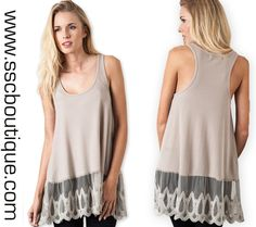Ribbed Lace Tank Tops $32.50! Tan or Taupe- or take both! S,M,L! Click link to order now!  http://www.sscboutique.com/collections/new-arrivals/products/ribbed-lace-tank-tops  #lacetank #lookbook #spring #taupe #tan #fashionista