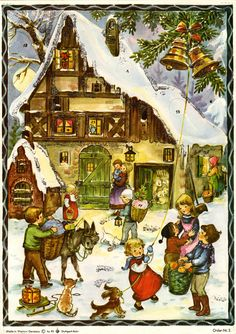 Illustrated by Anita Rahlwes, Advent Calendars, 1960s, Christmas Cards, Drawings, Illustration, Painting, Character, Vintage, Yule